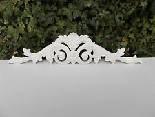 LARGE 2 FOOT ORNATE DECORATIVE PEDIMENT DOUBLE SCROLL MOULDING WHITE FIRE PLACE