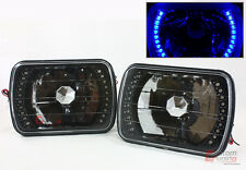 TOYOTA PICKUP TRUCK GLASS LENS JDM BLACK SEALED BEAM SQUARE BLUE LED HEADLIGHT
