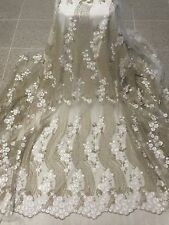 "OFF WHITE GOLD METALLIC EMBROIDERY RHINESTONE MESH LACE FABRIC 50"" WiIDE 1 YD"