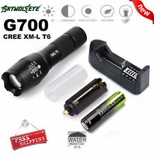 G700 X800 Tactical Flashlight LED Zoom Military Torch 18650 Battery & Charger