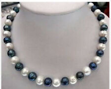 8-9mm Natural Black & White Akoya Cultured Pearl Fashion Jewelry Necklaces 18""