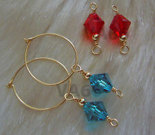 14k Gold Filled Interchangeable 2 Pairs Swarovski Earrings Hoops Suasa Anting