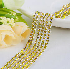2mm Cystal Rhinestone Close Cup Chain Trimming Claw Chain Lemon yellow 1yd