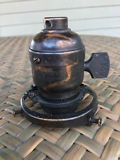 Antique Light Socket Japanned Oxidized Copper Lamp GE Geco Brass Shade Holder