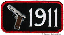 1911 GUN PATCH - ARMED BIKER EMBLEM iron-on WEAPON embroidered SEMI AUTO PISTOL
