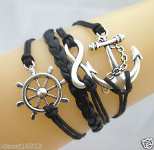 Infinity Anchor Rudder SAILOR NAUTICAL KNOT ROPE LEATHER BRACELET - BLACK