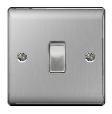 10 x STAINLESS STEEL Single Switch 1 Gang 2 Way Brushed Satin SLIMLINE - NBS12