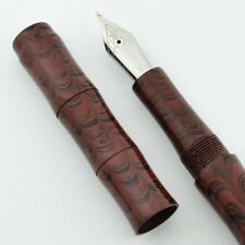 Ranga Ebonite Slim Bamboo Fountain Pen -  Smooth Burgundy Ripple, JoWo Nib, C/C