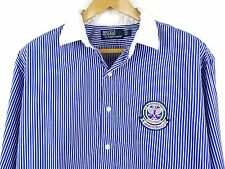 "MENS 100% GENUINE RALPH LAUREN L/S BLUE/WHITE STRIPE WIMBLEDON SHIRT 17.5""XL £85"