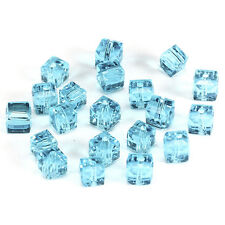 20pcs lake blue 6mm Faceted Square Cube Cut glass crystal Loose Spacer beads