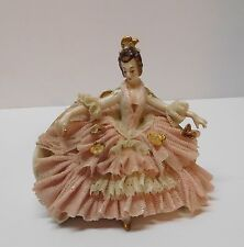 Franz Witter Dresden Lace Lady Seated Fan Pink White Lacy Dress Germany Vintage