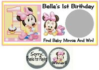 10 Baby Minnie Mouse 1st Birthday Party Or Baby Shower Scratch Off Game Cards