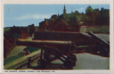 Postcard Canada Quebec City Les Ramports Ramparts Cannon PECO ca40s-50s MINT