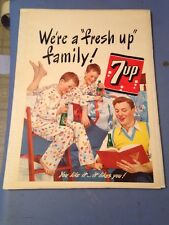 Vintage Rare 1948 7 Up Poster Advertisement Great Family Values