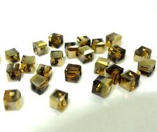 100PCS gold brown CUBE crystal glass loose BEADS 4MM