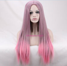 30Inche Kylie Jenner PINK Omber Long Straight Fashion Party no bang cosplay Wig