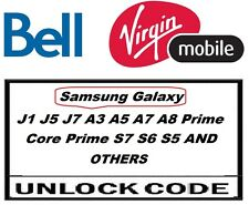 Bell/Virgin Canada network only Samsung Galaxy Almost all models Unlock codes