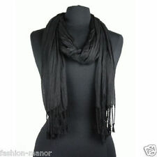 Men's Fashion Soft Solid Black Long Crinkle Silk-Cotton Neck Scarf 66x25""