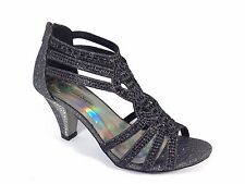 Women Evening Dress Shoes Rhinestones High Heels Platform Wedding Black Kinmi25