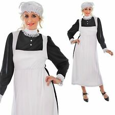 Señoras Victoriano Maid Fancy Dress Costume Drama de época Mob PAC fregona 10 12 14 16