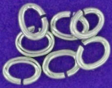 10 STRONG HEAVY STERLING SILVER 925 OPEN OVAL JUMP RINGS, 5 MM, 0.8 WIRE