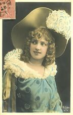 c1908 French Theater Beauty ARLETTE DORGERE antique hand tinted photo postcard