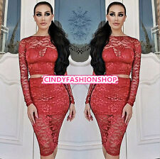 New Sexy 2PC Womens Sheer Lace Bodycon Crop Top Skirt Club Party Cocktail Dress