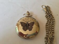 C2   Small Butterfly  polished silver case mens GIFT quartz pocket watch fob