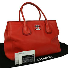 Authentic CHANEL CC Logos Hand Tote Bag Red Leather Vintage SHW NR09215