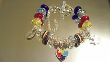 """Bracelets, SHINEdesigns, """"AUTISM AWARENESS"""", Chain, Silver, 8.5"""", Puzzle Kids"""