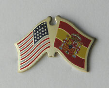 SPAIN ESPANA INTERNATIONAL COUNTRY USA COMBO FLAG LAPEL PIN BADGE 3/4 INCH