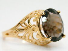 14K Gold Filigree Large Oval 4 Ct Smokey Quartz Scorpion Solitaire Ring Size 6