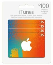 Canadian iTunes Cards 4X$25 $100 total value FAST Delivery!!