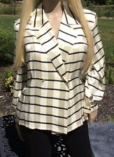 PETER NYGARD EMBELLISHED OUTLINED SQUARED 100% SILK BLOUSE SIZE 6
