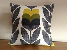 "Handmade Cushion Cover using ORLA  KIELY Rose Bud in Corn Yellow 18"" X 18"""