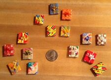 """DOLL HOUSE MINIATURE WRAPPED GIFT BOXES -- Receive Lot of 5 Boxes -- 3/4"""""""
