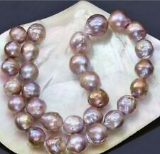 11-13mm natural south seas pink purple kasumi pearl necklace 18inch 14K