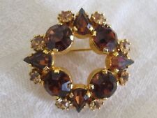Exquisite Vintage Signed Austria STAR Amber Rhinestone Crystal Circle Brooch