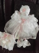 "DREAM NEWBORN BABY GIRLS PINK SILVER SPARKLES DRESS SET 17-19"" REBORN"