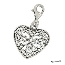 Antique Sterling Silver Filigree Heart Clip On Charm #94344