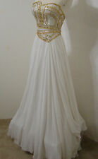 TERANI Couture White Strapless Empire Asymmetrical Formal Beaded Train Gown 0