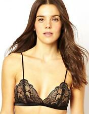 """NWT $68 DITA VON TEESE """"COUNTESS"""" LACE TRIANGLE BRALETTE IN BLACK SIZE 34A"""