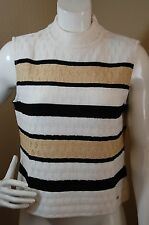 ST.JOHN Sport by Marie Gray Mock Neck Line Striped Sleeveless Wool Knit Top~M