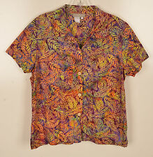 The Territory Ahead Womens L Hawaiian Shirt Button Front Pointed Collar Cotton