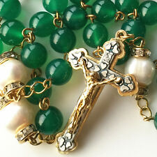 Nice Gold Green Jade Beads & AAA10MM Real Pearl rosary cross NECKLACE CATHOLIC