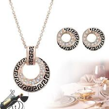 Fashion Women Wedding Jewelry Sets Gold Plated Necklace Stud Earring Set Gift TL