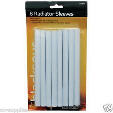 8 X 15MM WHITE RADIATOR PIPE COVERS SLEEVES SHROUDS SNAP AROUND YOUR PIPES