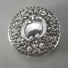Antique Sterling Pill Box with Floral Repousse Lid Gorham 1896