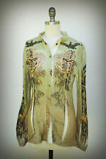 Butterfly Dropout Size Small Snap Down Shirt Loyalty Falcon Roses