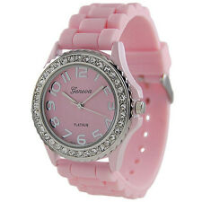 Geneva Woman Platinum Accented Silicon Diamonds Watch Large Face Wrist watch